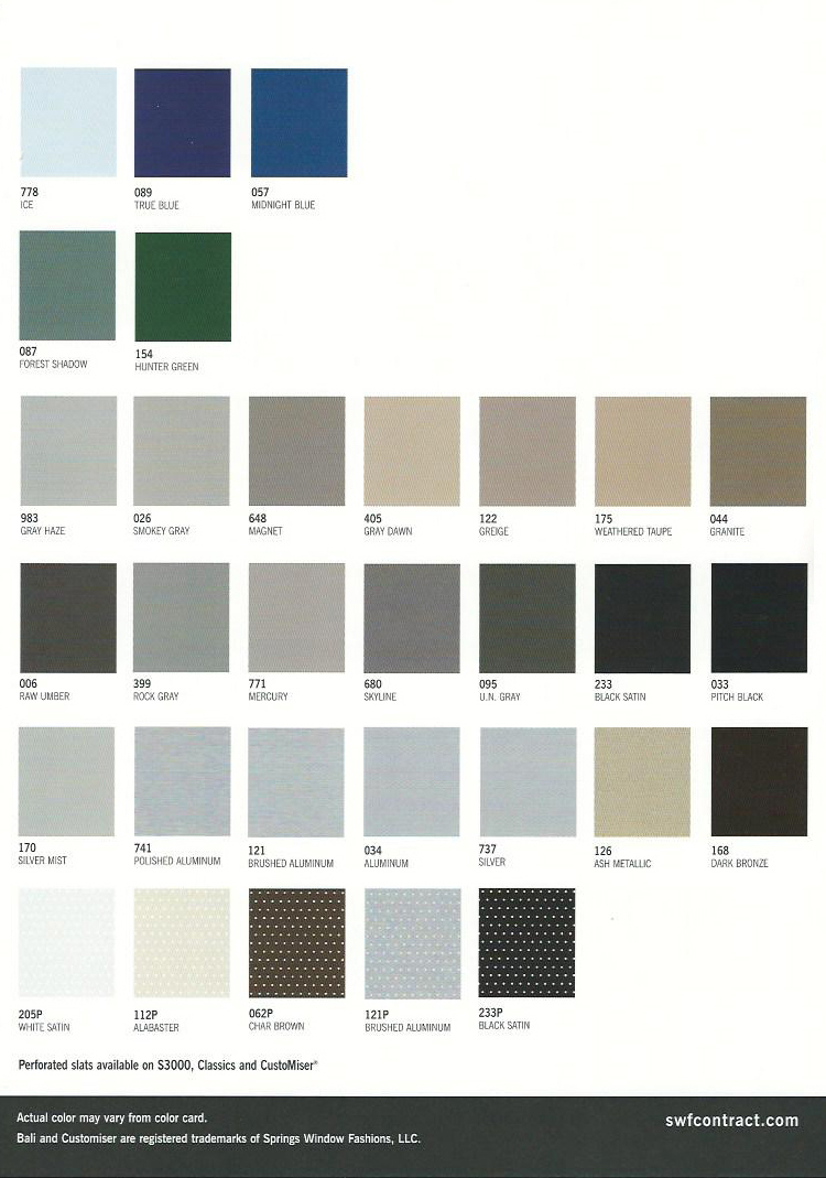 Horizontal Blinds Color Chart Commercial Drapes And Blinds